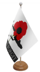 Lest We Forget RAF Desk / Table Flag with wooden stand and base